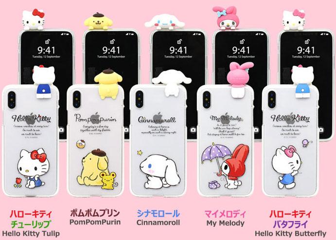 サンリオキャラクターズ フィギュア付き透明ジェリースマホケース(ハローキティ・ポムポムプリン・シナモロール(シナモン)・マイメロディ) iPhone Galaxy
