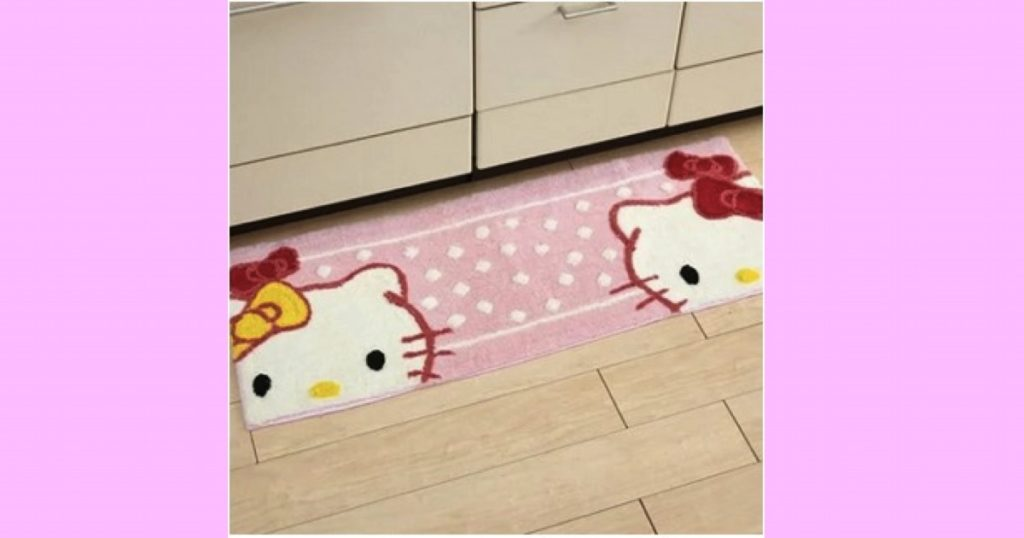 【キティ&ミミィ】キッチンマット(リボン)