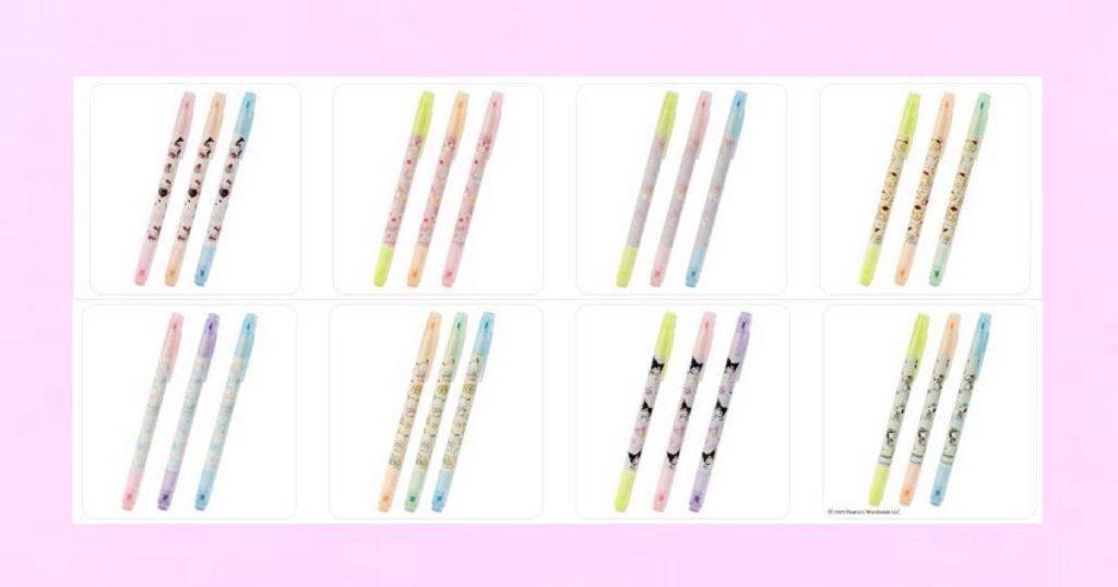 各キャラ3色のラインマーカーセット♪ キャラクターは、ハローキティ・マイメロディ・リトルツインスターズ(キキララ)・ポムポムプリン・シナモロール(シナモン)・ポチャッコ・クロミ・スヌーピー♡