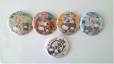 秋田県北秋田市 ハローキティ 缶バッジセット