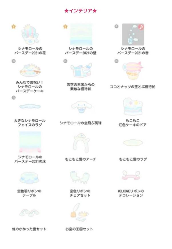 【ハロスイ・イベント】シナモロールのバースデー2021(2021年3月3日〜3月13日)アイテム一覧