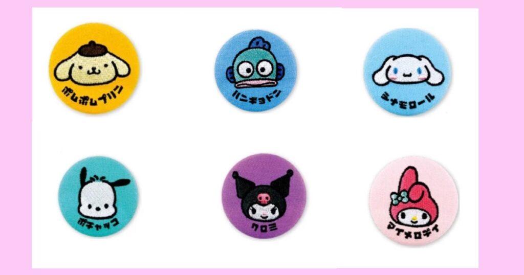 カタカナ×刺繍缶バッジ ポムポムプリン・ハンギョドン・シナモロール(シナモン)・ポチャッコ・クロミ・マイメロディ